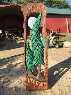 4.5' Welcome Tree Slab Wood Art Wooden Sculpture Wood