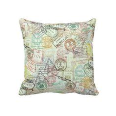 Passport Stamp Pillow
