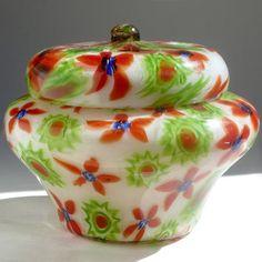 Fratelli Toso Murano, Millefiori Flower Mosaic Italian Art Glass Powder Box image 4