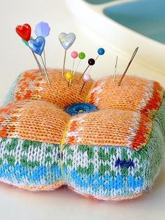 Pincushion, yet another thing to make out of old sweater!