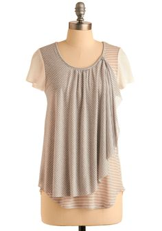Afloat from Afar Top - Cream, Grey, White, Stripes, Casual, Short Sleeves, Mid-length