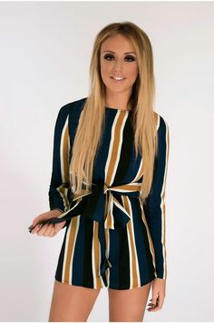 5f10d59066 Nostalgia Tie Waist Navy Tan Playsuit - In The Style