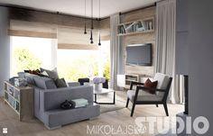 Kąt wypoczynkowy-drewno, ksiazki - zdjęcie od MIKOŁAJSKAstudio - Salon - Styl Industrialny - MIKOŁAJSKAstudio