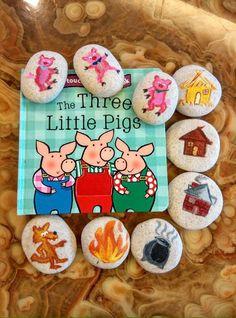 Three Little Pigs Story Stones Pebble Painting, Pebble Art, Stone Painting, Stone Crafts, Rock Crafts, Arts And Crafts, Diy For Kids, Crafts For Kids, Story Stones