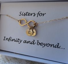 Sister Necklace & Card SET, Sister Infinity Jewelry,Gold Fill,Infinity Set, Infinity Gift and Card, Up to THREE Initials in Gold Gift on Etsy, $34.50 @Erica Cerulo Cerulo Artus