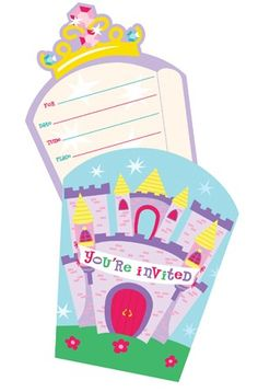 Castle Fun Party Invitations (8)  These awesome princess invites set the scene for your family and friends! Our castle themed Invitations set includes (8) diecut invitations & matching envelopes to match your party decor.