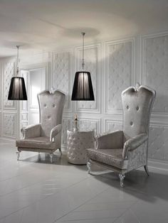 Designer Italian Silver Leaf Throne Armchair at Juliettes Interiors. French Furniture, Luxury Furniture, Furniture Design, Grey Accent Chair, Accent Chairs, Baroque Mirror, Round Side Table, Side Tables, Throne Chair