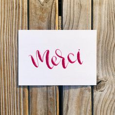 Lettered merci (thank you) card — printable digital download Watercolor Lettering, Hand Lettering, Watercolor Paintings, French Words, Letter I, Colored Envelopes, As You Like, Simply Beautiful, Thank You Cards