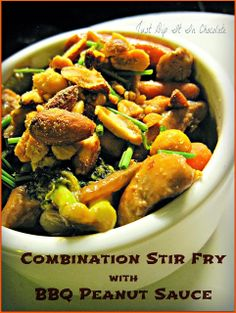 Combination Stir Fry with BBQ Peanut Sauce Recipe, this is the perfect use for leftover veggies or any meat, chicken or seafood you have in ...