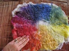 Teaching Handwork: wet felting color wheel and felting with your first grader