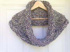 Chunky knit- shades of grey scarf/ cowl/ snood by whilewaiting on Etsy