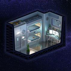 Spaceship Interior, Futuristic Interior, Spaceship Design, Futuristic Design, Futuristic Bedroom, Isometric Art, Isometric Design, Starship Concept, Bedroom Setup