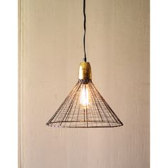 Caged Pendant with Gold Canopy - Dot & Bo