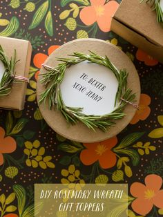 Rosemary Wreath Gift Toppers