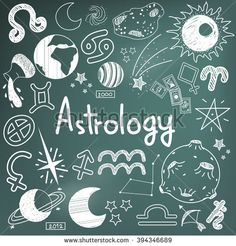 Astrology and fortunetelling doodle handwriting sketch sign and symbol in blackboard background used for presentation title or subject introduction, create by vector  - stock vector