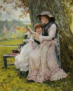 books0977:  Summer Days (1884). Edward Killingworth Johnson (English, 1825-1896). Watercolour heightened with bodycolour. Edward's paintings...