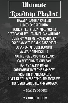 Ultimate Roadtrip Playlist - Spark your inner wanderlust with these amazing travel songs. Listen while traveling or while dreaming of traveling. This travel playlist is perfect. Spark your inner wanderlust today with all of these good vibes! Road Trip Playlist, Summer Playlist, Song Playlist, Playlist Ideas, Travel Songs, Travel Music, Music Mood, Mood Songs, Road Trip Music