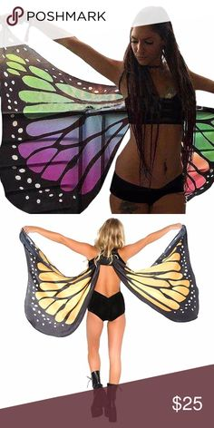 Butterfly Wings Women's Shawl  Cape Scarf Dance Festival Fantasy Cosplay Butterfly Beach Cover Up Shawl  Material:Chiffon  Size: 60*140 cm Accessories