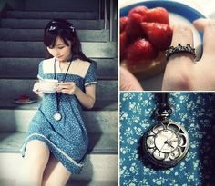 Net Vintage Floral Dress, Thrifted Black Jewelled Ribbon Headpiece, Antique Tiara Ring, Q House Pocket Watch Necklace