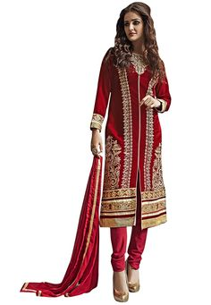 #Ravishing #Red #Suit !  Spice-up your #party or #Wedding look in this gorgeous Red #Velvet #kameez designed with Heavy Zari,Resham Embroidery With Sequince Work And Lace Border. Available with #Red Santoon Bottom.   INR: 2306 Only #With #Exciting #Discounts ..  Shop now @ http://tinyurl.com/z6sbb29