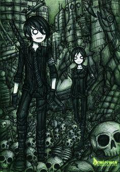 Emo Art, Goth Art, Horror Cartoon, Horror Art, Creepy Pictures, Pictures To Draw, Dark Drawings, Cool Drawings, Beautiful Drawings