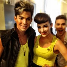Love the yellow, love the hair! Adam Lambert and Karmin! KARMIN IS AMAZING CHECK OUT HER COVER OF 'LOOK AT ME NOW'