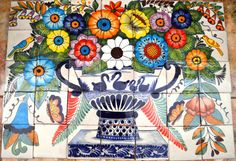 35 pieces Mexican Tile Wall Mural by MexicanTiles on Etsy