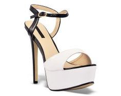 28€ Peep-Toe and ankle strap platform slingback, white and black color. Visit our website now!