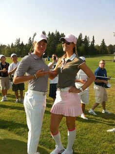 """Suzann Pettersen, Michelle Wie Actually you might like this better. @Michelle Flynn Wie showing off our respective #assets."""""""