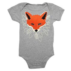 Fox Baby One Piece Bodysuit Romper Jumper Adorable Woodland Forest Animal Nature Fantastic Mr Fox Heather Grey Onesie