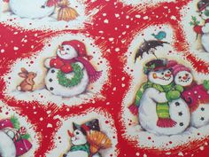 Vintage Christmas Wrapping Paper - Jolly Snowy Day Snowman Family - Winter Scene…