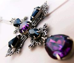 Crystal Cross Necklace Gothic Purple and Black