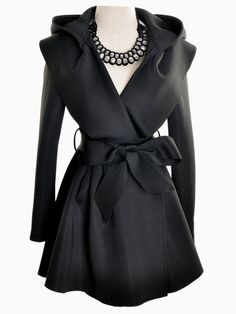 Love Love LOVE! Love the Neckline! Love the Bow! Black Hooded Longline Coat with Belt #Elegant #Black #Trench_Coat #Fashion