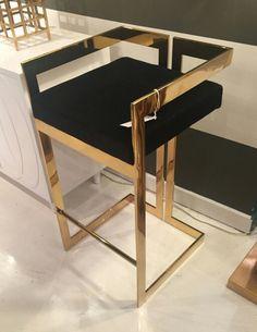 Randolph Contemporary bar stool in brass & black velvet @ Mecox