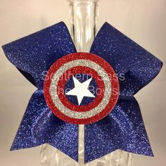 Captain America cheer bow superhero bow glitter bow with topper by SouthernSassCheerBow on Etsy