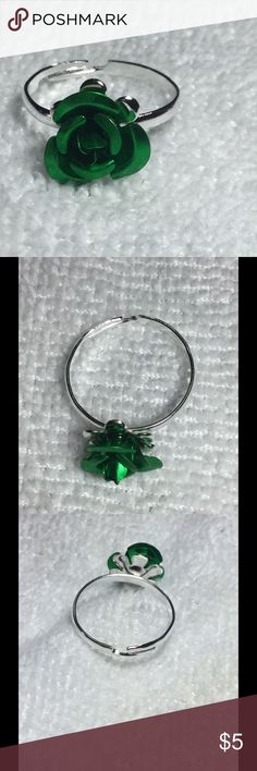 Cute Green Rose Ring These little rose rings are quirky and pretty! They are adjustable, so one size fits all. These are perfect for bundling! Jewelry Rings