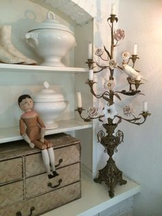 brocante, i have two of these dolls French Decor, French Country Decorating, Chandeliers, Chandelier Lighting, Linens And Lace, White Rooms, French Furniture, Vintage Decor, Shabby Chic