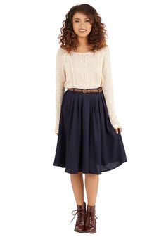 Breathtaking Tiger Lilies Midi Skirt Breathtaking Tiger Lilies Skirt in Navy,You can find Modcloth and more on our website. Modest Outfits, Modest Fashion, Casual Outfits, Fashion Outfits, Fashion Fashion, Blue Skirt Outfits, Lolita Fashion, Work Fashion, Fashion 2020