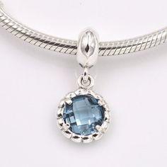 Campana blu ciondolo con grosso zircone blu 100% argento sterling 925 adatta misure Pandora charm Pandora bead Braccialetto europeo CLS885 di OceanBijoux su Etsy