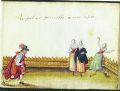 "skittling women motif (variant) from Jo. Hensel's album amicorum, Det Kongelige Bibliotek, Copenhagen, Ms Thott 377, image 105 (1628). French caption reads: ""La fortune fauorable a mes desirs"" [may Fortune favour my desires/ Fortune favours my desires]"