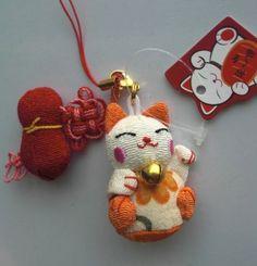 US-Japanese-KIMONO-FABRIC-Chirimen-Maneki-neko-Lucky-Cat-Cell-Phone-strap-Charm