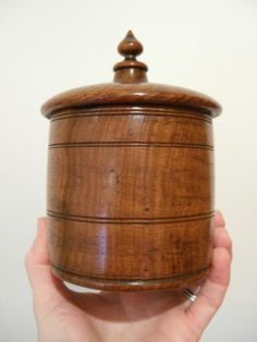 LOVELY 19thC Antique VICTORIAN TURNED OAK Wooden TOBACCO JAR Pot Box, TREEN