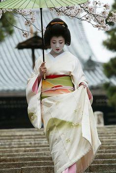 Geiko 芸妓. Geiko Ichisayo in April - Sakura petals and mountain patterns by WATASAN on Flickr.