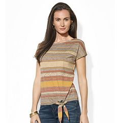 Lauren Ralph Lauren® Striped Tied-Hem Tee