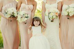 Mismatch blush bridesmaids dresses