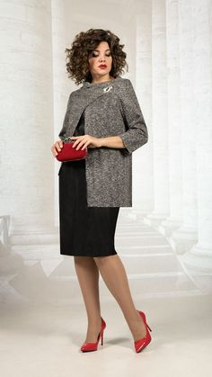 Коллекция одежды для полных девушек белорусского бренда Avanti Erika зима 2020-21 Over 50 Womens Fashion, Fashion Dresses, High Neck Dress, Clothes For Women, Knitting, Color, Style, Outfits, Dressmaking