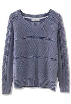 Zig Zag Cable Knit Top