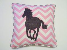 who doesnt love horses! pretty in pink chevron pillow cover with light gray striped piping and a felt horse silhouette. Shown in pink chevron,