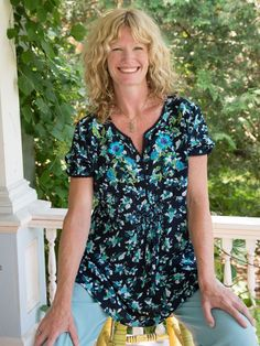 You really can't go wrong with this blouse, there is just something about the shape that flatters every body type, from tiny on up. Each season we offer a different print in this style and it sells out every time. This version is manifested in a gorgeous print, drenched in breathtakingly beautiful Adriatic blues.