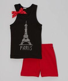 Love this Black & Red 'Paris' Tank & Shorts - Infant, Toddler & Girls on #zulily! #zulilyfinds